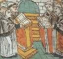 Monaci benedettini che intonano un canto gregoriano